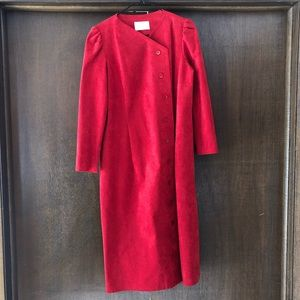 VINTAGE Red Long Light Weight Coat Abe Schrader Sm